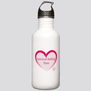 American Bulldog Mom Pink Heart Stainless Water Bo