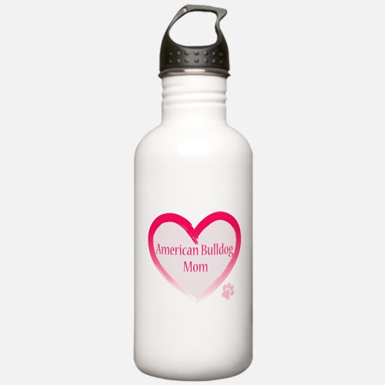 American Bulldog Mom Pink Heart Water Bottle