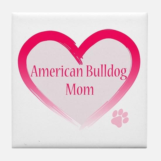 American Bulldog Mom Pink Heart Tile Coaster