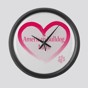 American Bulldog Mom Pink Heart Large Wall Clock