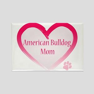 American Bulldog Mom Pink Heart Rectangle Magnet