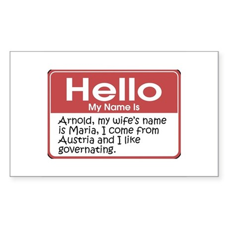 Hello My Name Is Arnold Rectangle Sticker