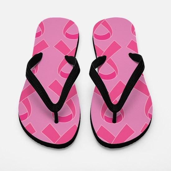 Pink Ribbon Breast Cancer Support Flip Flops