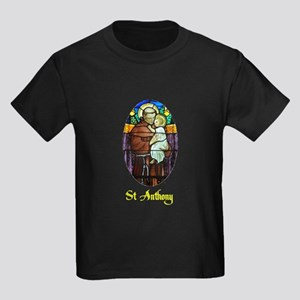 St Anthony in Stained Glass Kids Dark T-Shirt