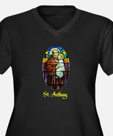 St Anthony in Stained Glass Women's Plus Size V-Ne