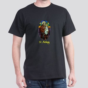 St Anthony in Stained Glass Dark T-Shirt