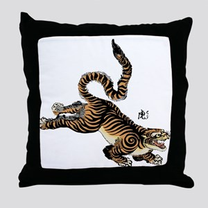 Japanese Tiger Art Throw Pillow