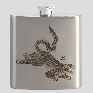 Japanese Tiger Art Flask