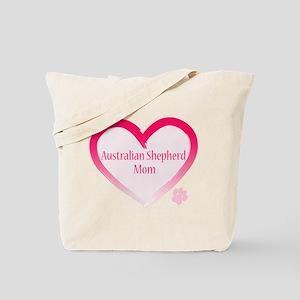 Australian Shepherd Pink Heart Tote Bag
