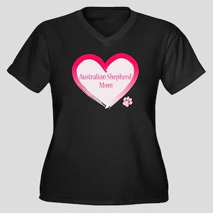 Australian Shepherd Pink Heart Women's Plus Size V
