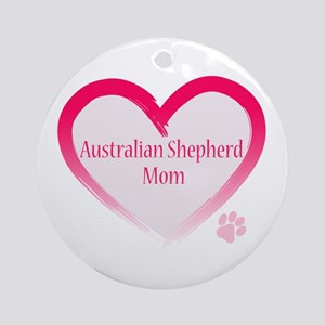 Australian Shepherd Pink Heart Ornament (Round)