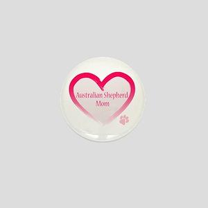 Australian Shepherd Pink Heart Mini Button