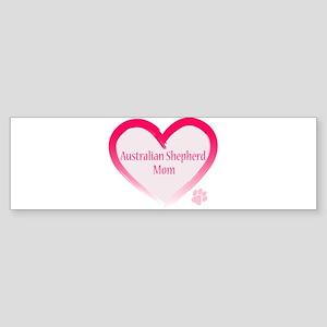 Australian Shepherd Pink Heart Sticker (Bumper)
