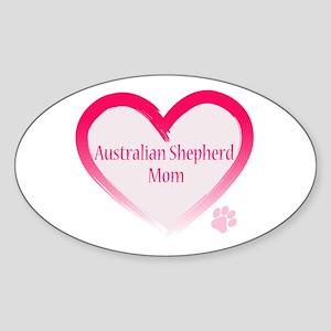 Australian Shepherd Pink Heart Sticker (Oval)