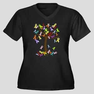 Ribbon Tree Women's Plus Size V-Neck Dark T-Shirt