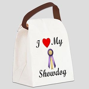 I Love My Showdog (ribbon) Canvas Lunch Bag