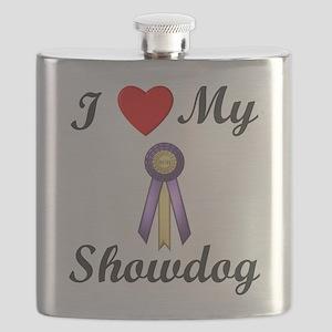 I Love My Showdog (ribbon) Flask