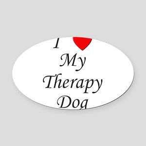 lovemytherapydog Oval Car Magnet
