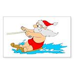 Waterski Santa Sticker (Rectangle 10 pk)