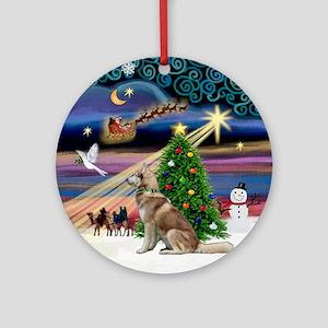 Xmas Magic & Red Siberian Husky Ornament (Round)