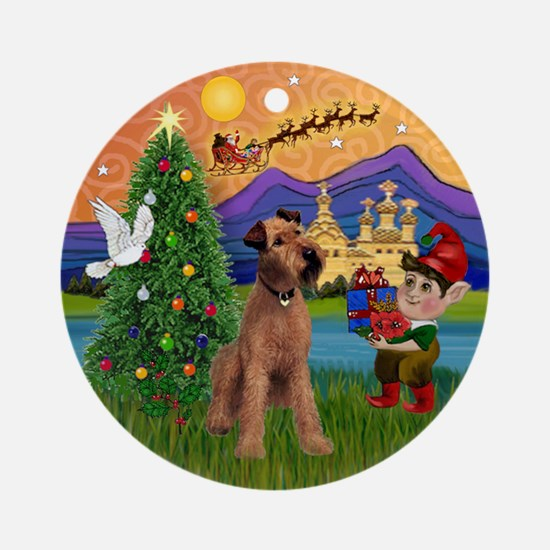 Xmas Fantasy & Irish Terrier Ornament (Round)
