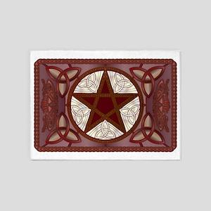 Red Pentagram, Triquatras & Celtic 5'x7'Area Rug