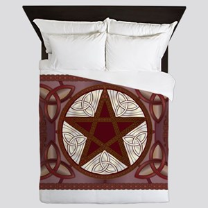 Red Pentagram, Triquatras & Celtic Kno Queen Duvet
