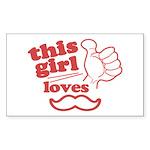 Girl Loves Mustache Sticker (Rectangle 50 pk)