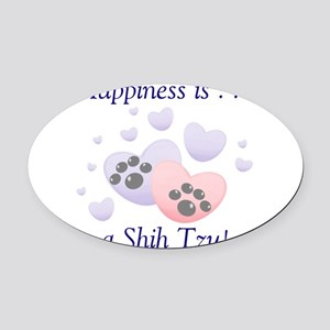 happinessshihtzu.png Oval Car Magnet