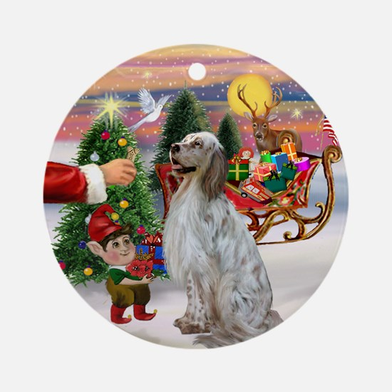 Santa's Treat & English Setter Ornament (Round)