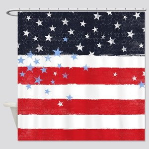 Patriotic Stars and Stripes Shower Curtain