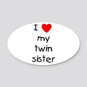 lovemytwinsis.png Oval Car Magnet