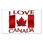 I Love Canada Souvenir Sticker (Rectangle 10 pk)