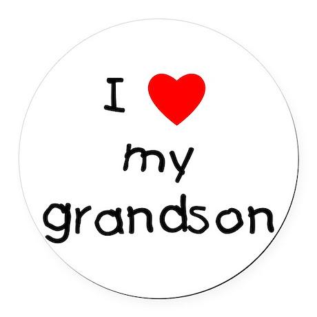 lovemygrandson.png Round Car Magnet