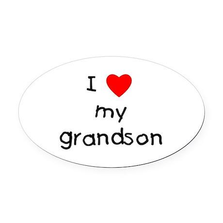 lovemygrandson.png Oval Car Magnet