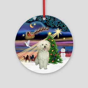 Xmas Magic & White Toy Poodle Ornament (Round)