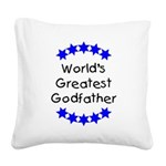 greatestgodfatherblue Square Canvas Pillow