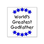 greatestgodfatherblue Square Sticker 3
