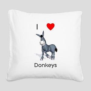 lovedonkeys2 Square Canvas Pillow