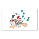 Scuba Diving Santa Sticker (Rectangle 10 pk)
