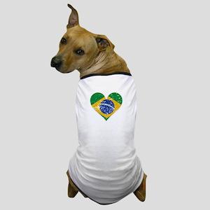 Distressed Brazilian Flag Heart Dog T-Shirt