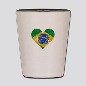 Distressed Brazilian Flag Heart Shot Glass