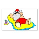 Sunbathing Santa Sticker (Rectangle 10 pk)