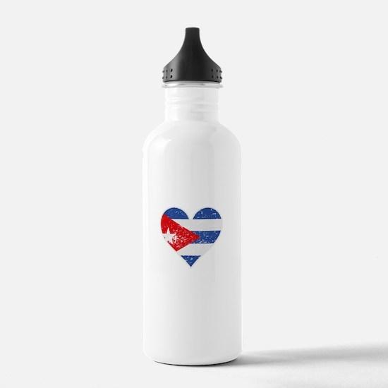 Distressed Cuban Flag Heart Water Bottle