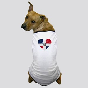 Distressed Dominican Flag Heart Dog T-Shirt