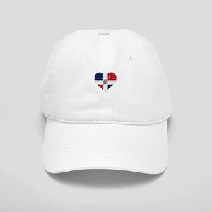 Distressed Dominican Flag Heart Baseball Cap