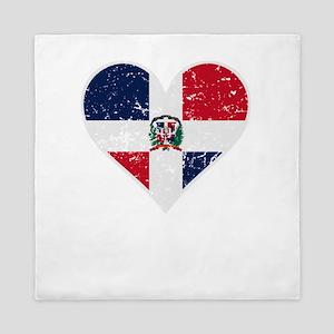 Distressed Dominican Flag Heart Queen Duvet