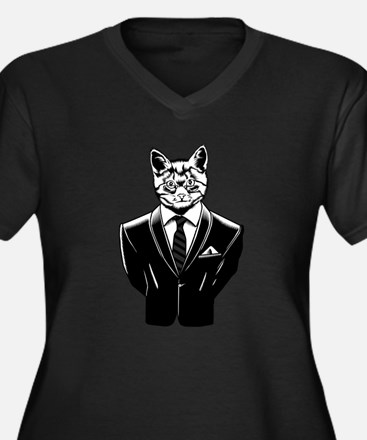 Business Cat Women's Plus Size V-Neck Dark T-Shirt
