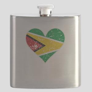 Distressed Guyanese Flag Heart Flask