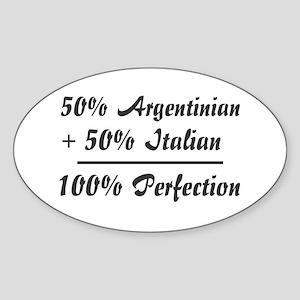 50% Italian +50% Argentinian Oval Sticker